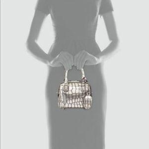 Olivia Croc-Embossed Mini Crossbody Bag,  Silver